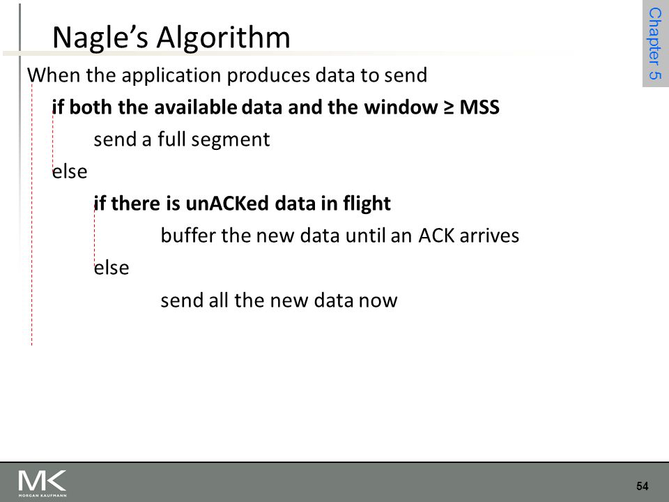 54 Chapter 4 54 Chapter 5 Nagle's Algorithm When the application produces data to send if both the available data and the window ≥ MSS send a full seg