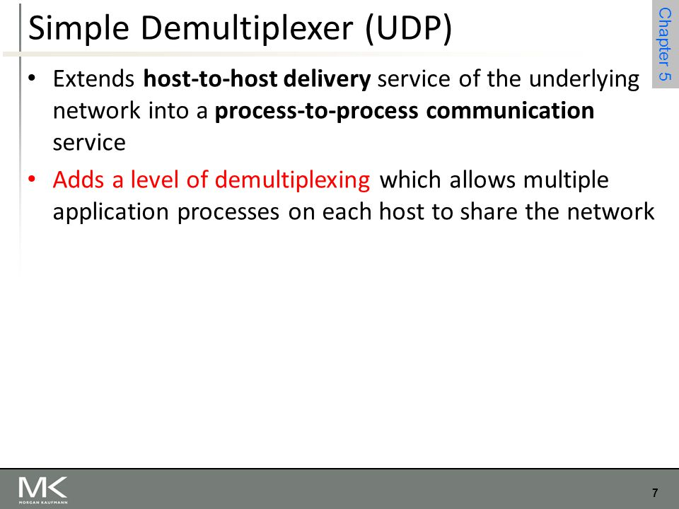 7 Chapter 4 7 Chapter 5 Simple Demultiplexer (UDP) Extends host-to-host delivery service of the underlying network into a process-to-process communica