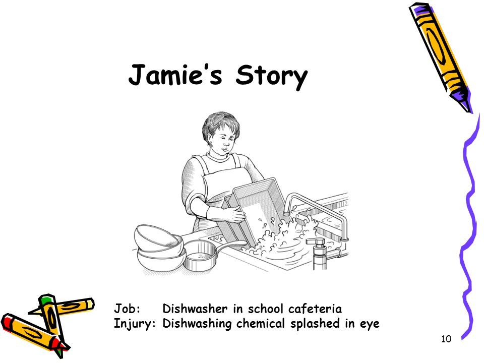 10 Jamie's Story Job: Dishwasher in school cafeteria Injury:Dishwashing chemical splashed in eye