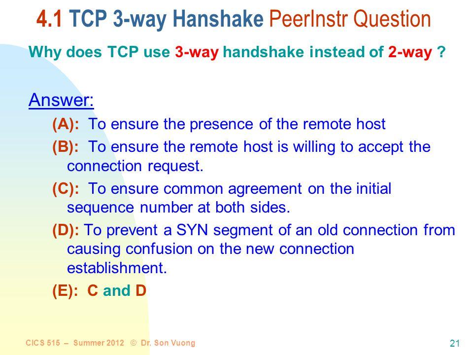 CICS 515 – Summer 2012 © Dr. Son Vuong 20 TCP Connection Management (cont) TCP client TCP server