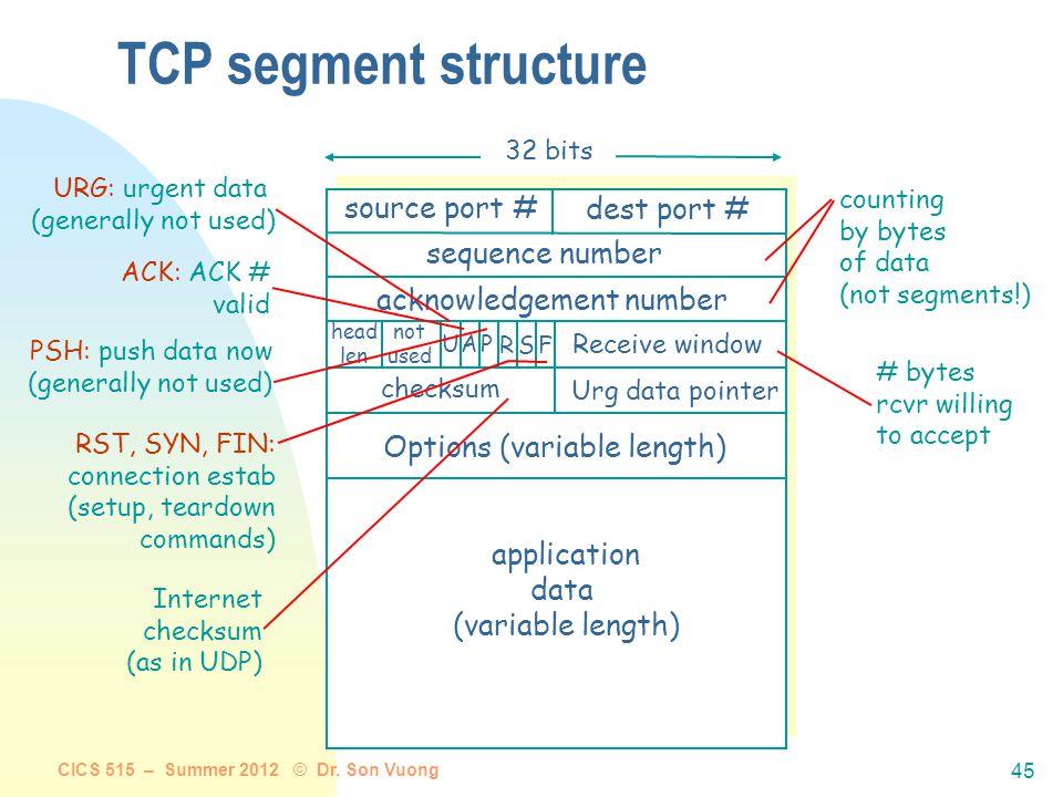 CICS 515 – Summer 2012 © Dr. Son Vuong 44 Example TCP/IP internet R1 ETH FDDI IP ETH TCP R2 FDDI PPP IP R3 PPP ETH H1 IP ETH TCP H8 R2 R1 H4 H5 H3 H2