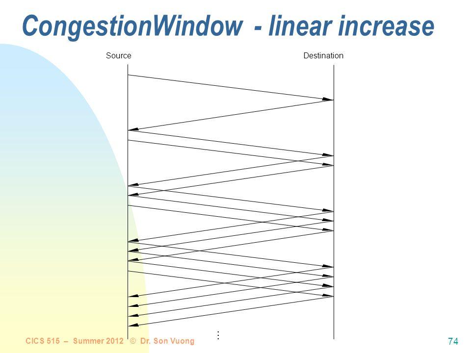 CICS 515 – Summer 2012 © Dr. Son Vuong 73 Algorithm:  increment CongestionWindow by one packet per RTT (per CongestionWindow's worth of data) (linear