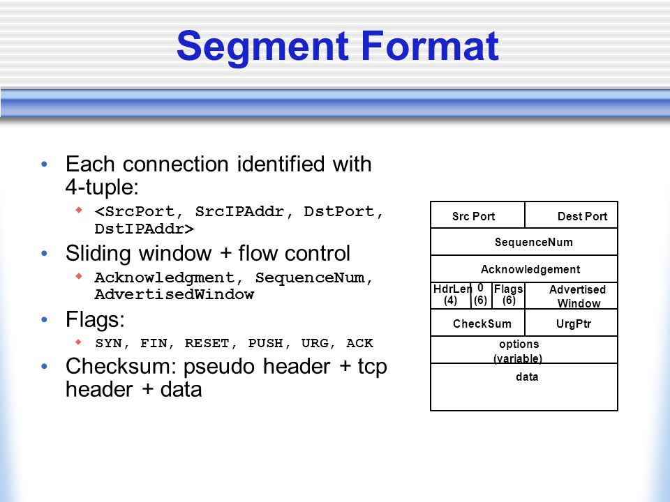 Segment Format Each connection identified with 4-tuple:  Sliding window + flow control  Acknowledgment, SequenceNum, AdvertisedWindow Flags:  SYN,