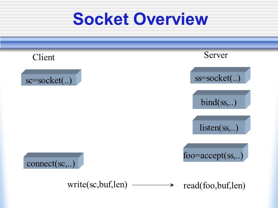 Socket Overview sc=socket(..) ss=socket(..) Client Server bind(ss,..) listen(ss,..) foo=accept(ss,..) connect(sc,..) write(sc,buf,len) read(foo,buf,len)