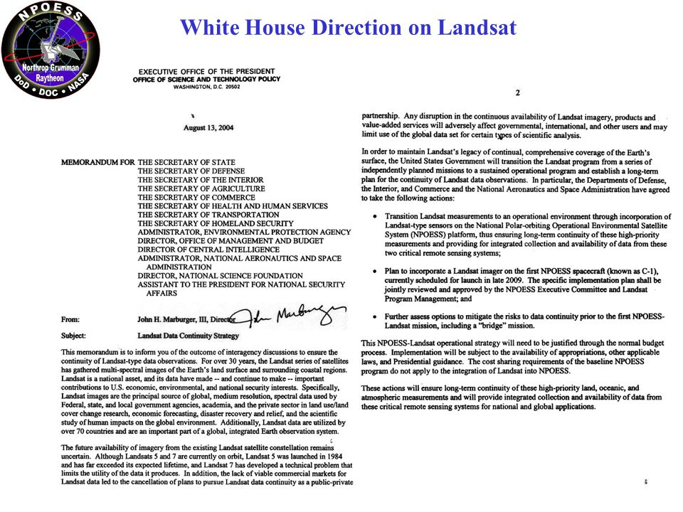 White House Direction on Landsat