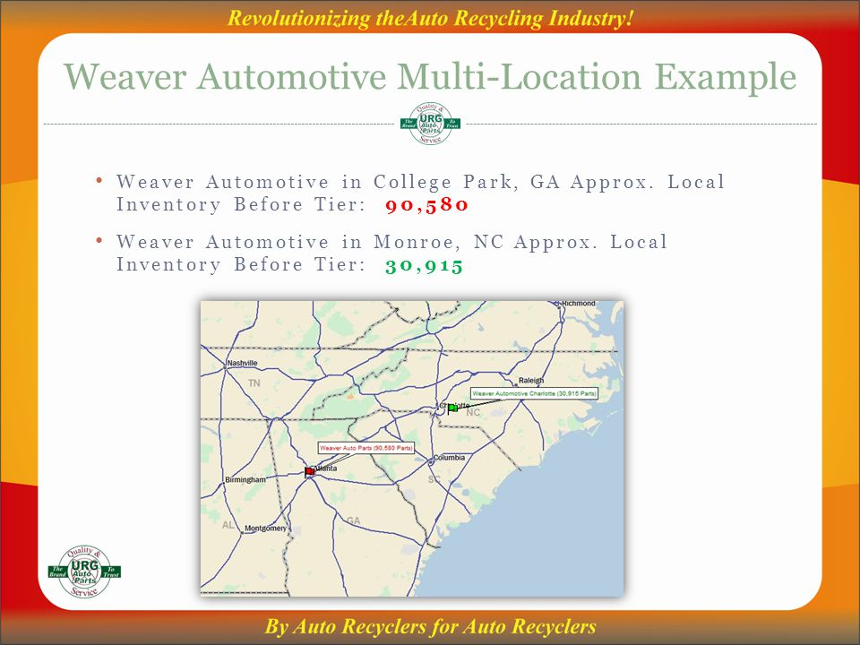 Weaver Automotive Multi-Location Example Weaver Automotive in College Park, GA Approx.