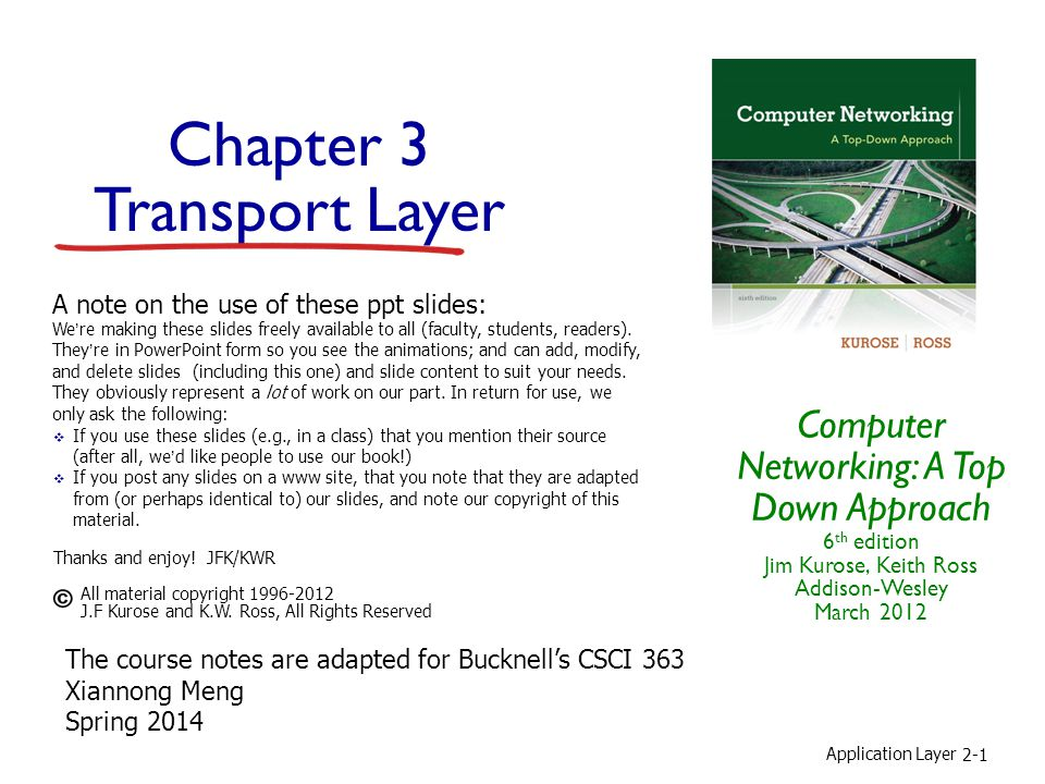 Application Layer 2-1 Chapter 3 Transport Layer Computer Networking: A Top Down Approach 6 th edition Jim Kurose, Keith Ross Addison-Wesley March 2012 A note on the use of these ppt slides: We're making these slides freely available to all (faculty, students, readers).
