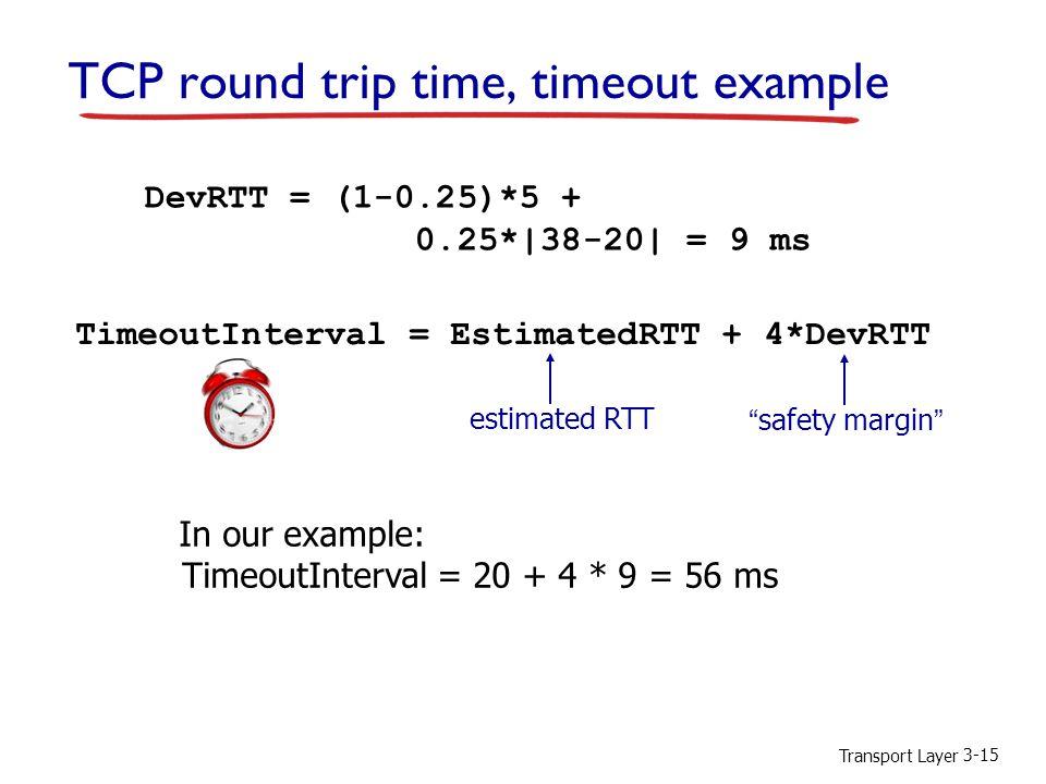Transport Layer 3-15 TCP round trip time, timeout example DevRTT = (1-0.25)*5 + 0.25*|38-20| = 9 ms TimeoutInterval = EstimatedRTT + 4*DevRTT estimated RTT safety margin In our example: TimeoutInterval = 20 + 4 * 9 = 56 ms
