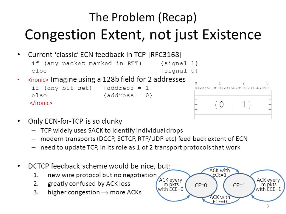 The Problem (Recap) Congestion Extent, not just Existence Current 'classic' ECN feedback in TCP [RFC3168] if (any packet marked in RTT){signal 1} else {signal 0} Imagine using a 128b field for 2 addresses if (any bit set){address = 1} else {address = 0} Only ECN-for-TCP is so clunky – TCP widely uses SACK to identify individual drops – modern transports (DCCP, SCTCP, RTP/UDP etc) feed back extent of ECN – need to update TCP, in its role as 1 of 2 transport protocols that work DCTCP feedback scheme would be nice, but: 1.new wire protocol but no negotiation 2.greatly confused by ACK loss 3.higher congestion  more ACKs 0123456789 1010123456789 2020123456789 30301 {0 | 1} 3 CE=0CE=1 ACK every m pkts with ECE=0 ACK with ECE=1 ACK every m pkts with ECE=1 ACK with ECE=0