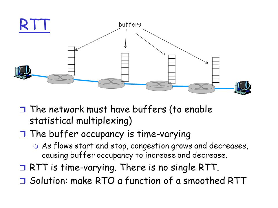 RTT r The network must have buffers (to enable statistical multiplexing) r The buffer occupancy is time-varying m As flows start and stop, congestion grows and decreases, causing buffer occupancy to increase and decrease.