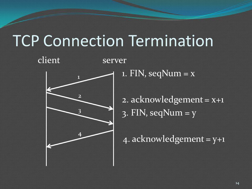 TCP Connection Termination client server 1. FIN, seqNum = x 2. acknowledgement = x+1 3. FIN, seqNum = y 4. acknowledgement = y+1 14 1 2 3 4