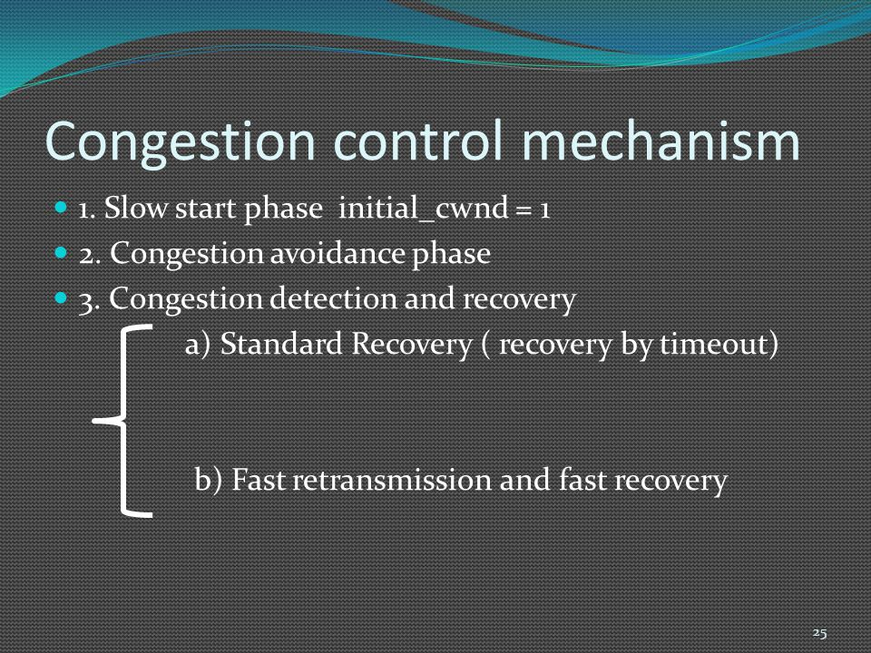 Congestion control mechanism 1. Slow start phase initial_cwnd = 1 2. Congestion avoidance phase 3. Congestion detection and recovery a) Standard Recov
