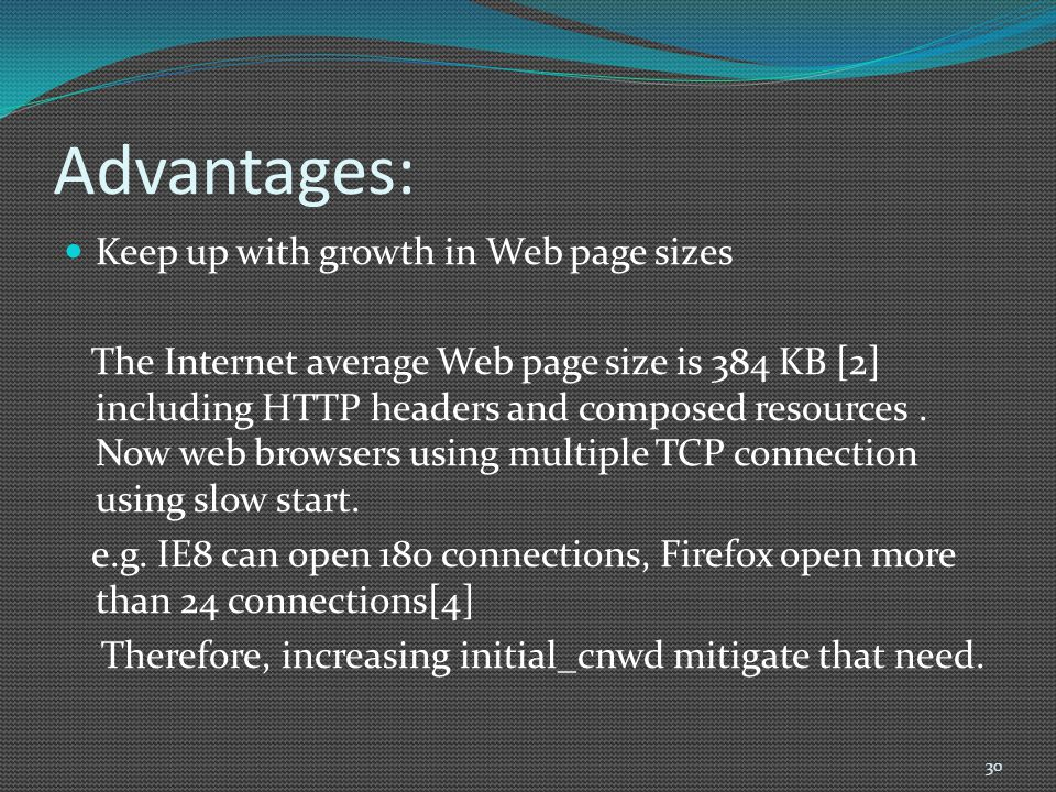 Advantages: Keep up with growth in Web page sizes The Internet average Web page size is 384 KB [2] including HTTP headers and composed resources. Now