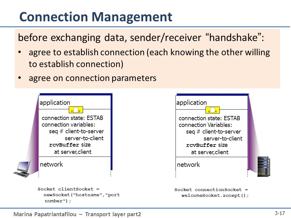 Marina Papatriantafilou – Transport layer part2 3-17 Connection Management before exchanging data, sender/receiver handshake : agree to establish connection (each knowing the other willing to establish connection) agree on connection parameters connection state: ESTAB connection variables: seq # client-to-server server-to-client rcvBuffer size at server,client application network connection state: ESTAB connection Variables: seq # client-to-server server-to-client rcvBuffer size at server,client application network Socket clientSocket = newSocket( hostname , port number ); Socket connectionSocket = welcomeSocket.accept();