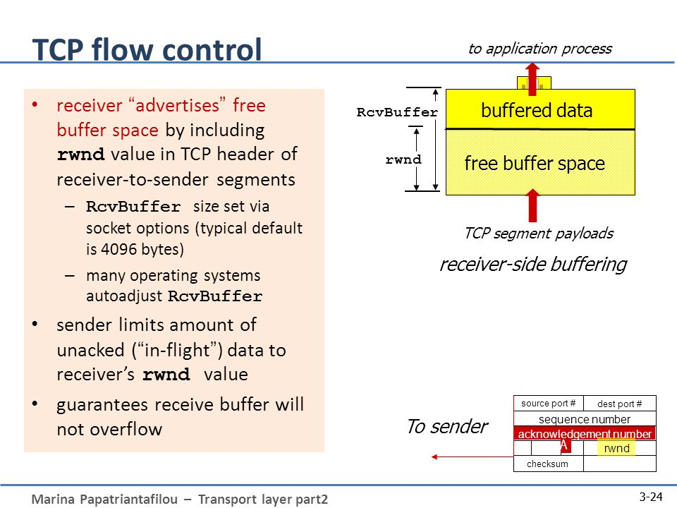 Marina Papatriantafilou – Transport layer part2 3-24 TCP flow control buffered data free buffer space rwnd RcvBuffer TCP segment payloads to application process receiver advertises free buffer space by including rwnd value in TCP header of receiver-to-sender segments – RcvBuffer size set via socket options (typical default is 4096 bytes) – many operating systems autoadjust RcvBuffer sender limits amount of unacked ( in-flight ) data to receiver's rwnd value guarantees receive buffer will not overflow receiver-side buffering 3-24 source port # dest port # sequence number acknowledgement number checksum rwnd A To sender