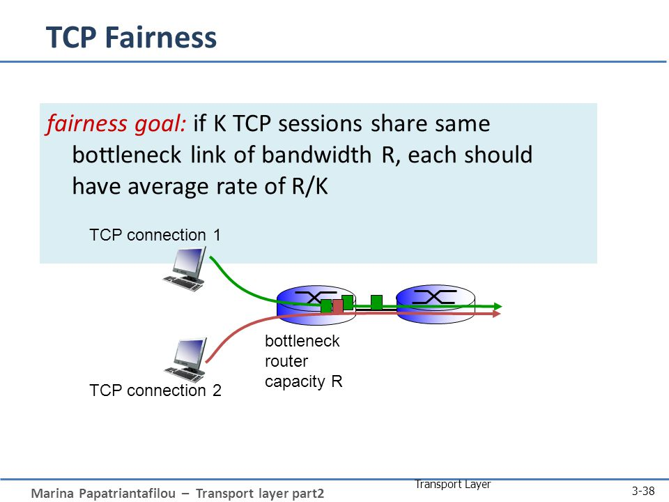 Marina Papatriantafilou – Transport layer part2 Transport Layer 3-38 fairness goal: if K TCP sessions share same bottleneck link of bandwidth R, each should have average rate of R/K TCP connection 1 bottleneck router capacity R TCP Fairness TCP connection 2
