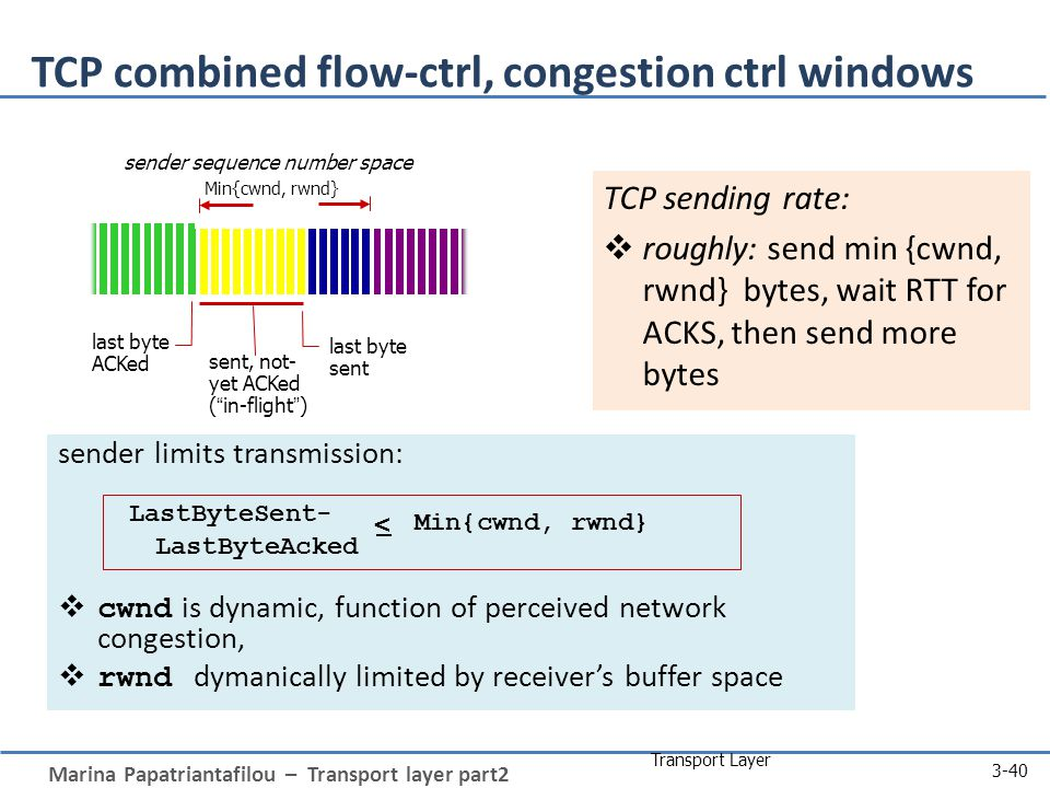 Marina Papatriantafilou – Transport layer part2 Transport Layer 3-40 TCP combined flow-ctrl, congestion ctrl windows sender limits transmission:  cwnd is dynamic, function of perceived network congestion,  rwnd dymanically limited by receiver's buffer space TCP sending rate:  roughly: send min {cwnd, rwnd} bytes, wait RTT for ACKS, then send more bytes Min{cwnd, rwnd} last byte ACKed sent, not- yet ACKed ( in-flight ) last byte sent LastByteSent- LastByteAcked < Min{cwnd, rwnd} sender sequence number space