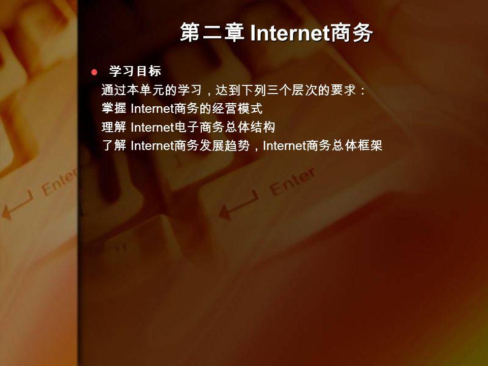 学习目标 通过本单元的学习,达到下列三个层次的要求: 掌握 Internet 商务的经营模式 理解 Internet 电子商务总体结构 了解 Internet 商务发展趋势, Internet 商务总体框架