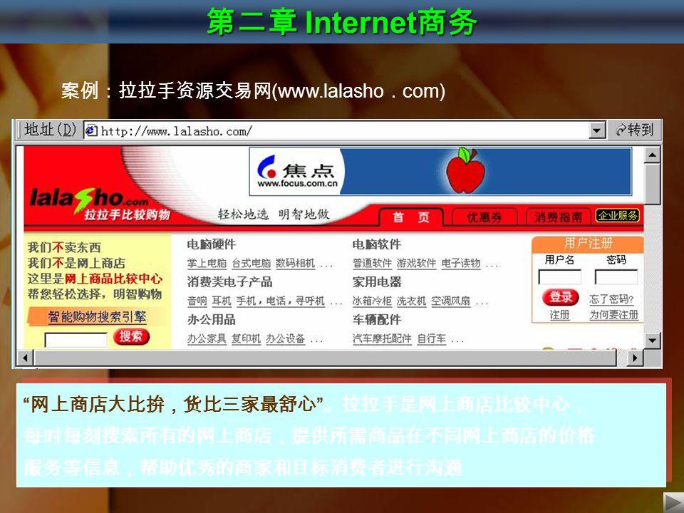 """第二章 Internet 商务 案例:拉拉手资源交易网 (www.lalasho . com) """" 网上商店大比拚,货比三家最舒心 """" 。拉拉手是网上商店比较中心, 每时每刻搜索所有的网上商店,提供所需商品在不同网上商店的价格 服务等信息,帮助优秀的商家和目标消费者进行沟通 """" 网上商店大比拚,货比"""