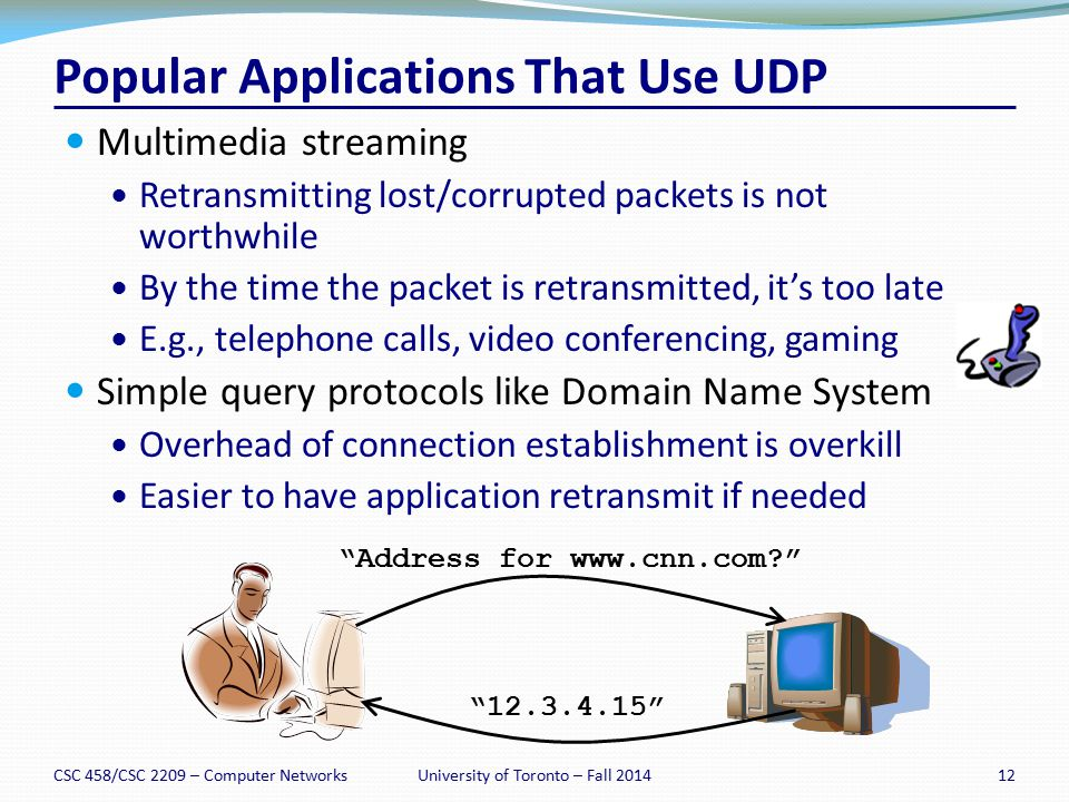 Popular Applications That Use UDP Multimedia streaming Retransmitting lost/corrupted packets is not worthwhile By the time the packet is retransmitted