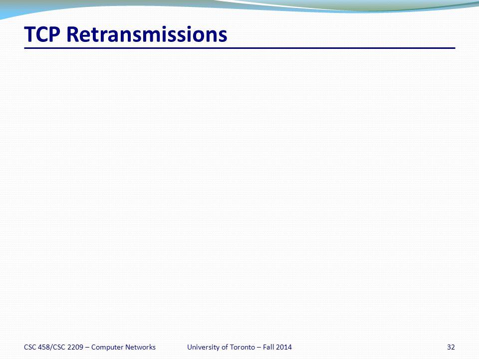 TCP Retransmissions CSC 458/CSC 2209 – Computer Networks32University of Toronto – Fall 2014