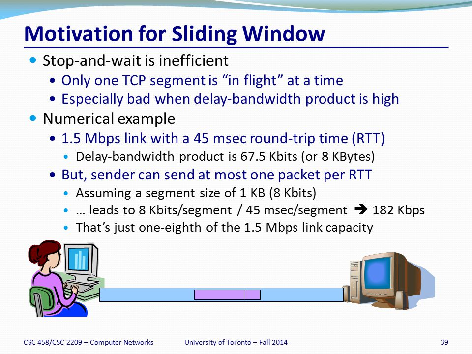 "Motivation for Sliding Window Stop-and-wait is inefficient Only one TCP segment is ""in flight"" at a time Especially bad when delay-bandwidth product i"