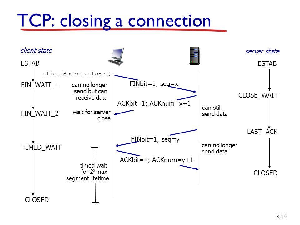 3-19 FIN_WAIT_2 CLOSE_WAIT FINbit=1, seq=y ACKbit=1; ACKnum=y+1 ACKbit=1; ACKnum=x+1 wait for server close can still send data can no longer send data LAST_ACK CLOSED TIMED_WAIT timed wait for 2*max segment lifetime CLOSED TCP: closing a connection FIN_WAIT_1 FINbit=1, seq=x can no longer send but can receive data clientSocket.close() client state server state ESTAB