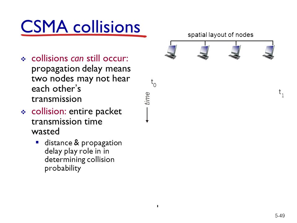5-49 CSMA collisions  collisions can still occur: propagation delay means two nodes may not hear each other's transmission  collision: entire packet