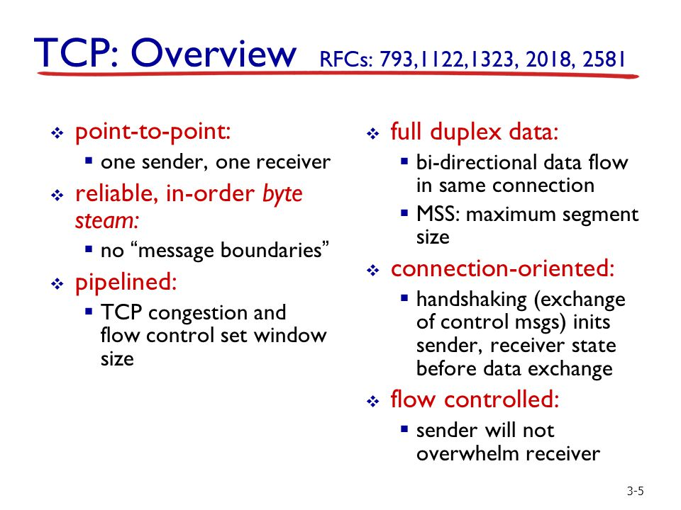 3-5 TCP: Overview RFCs: 793,1122,1323, 2018, 2581  full duplex data:  bi-directional data flow in same connection  MSS: maximum segment size  conn