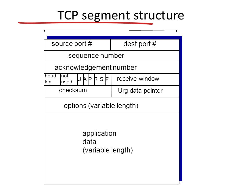 TCP segment structure source port # dest port # application data (variable length) sequence number acknowledgement number receive window Urg data pointer checksum F SR PAU head len not used options (variable length)