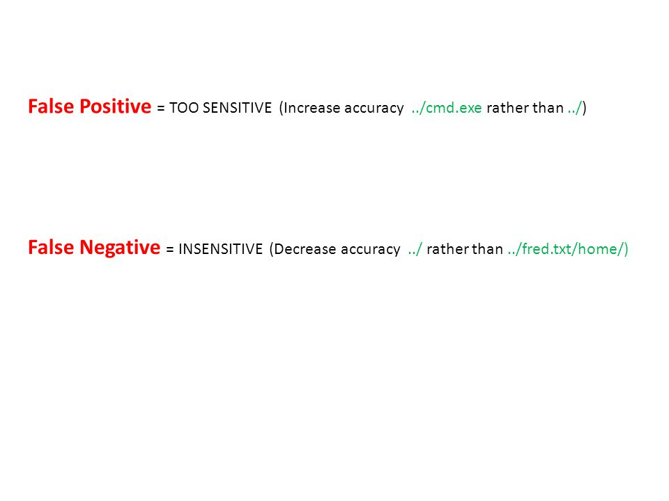 False Positive = TOO SENSITIVE (Increase accuracy../cmd.exe rather than../) False Negative = INSENSITIVE (Decrease accuracy../ rather than../fred.txt/home/)