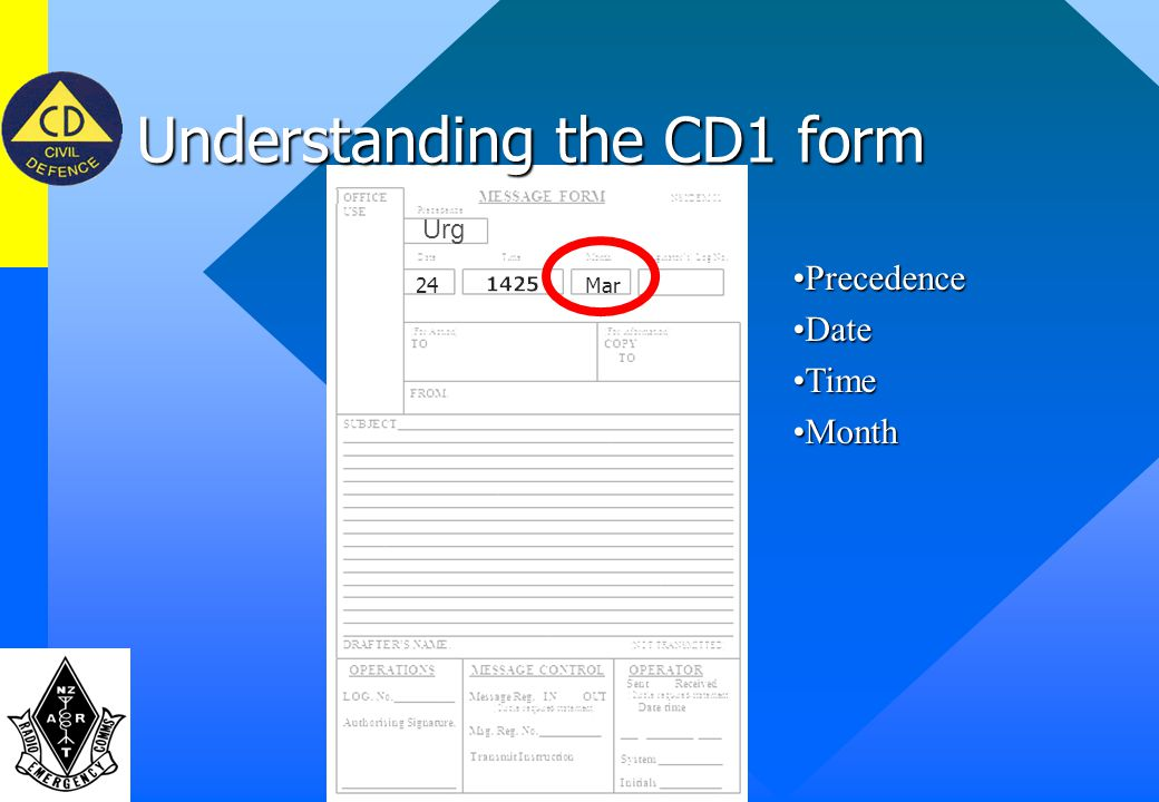 Understanding the CD1 form PrecedencePrecedence DateDate TimeTime Urg 1427