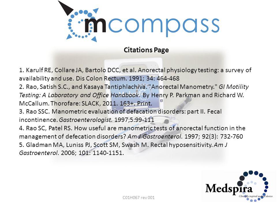 Citations Page C01H067 rev 001 1. Karulf RE, Collare JA, Bartolo DCC, et al.
