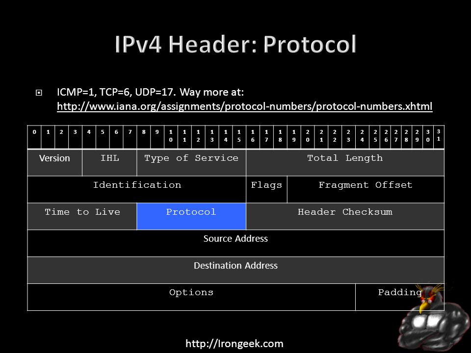 http://Irongeek.com  ICMP=1, TCP=6, UDP=17.