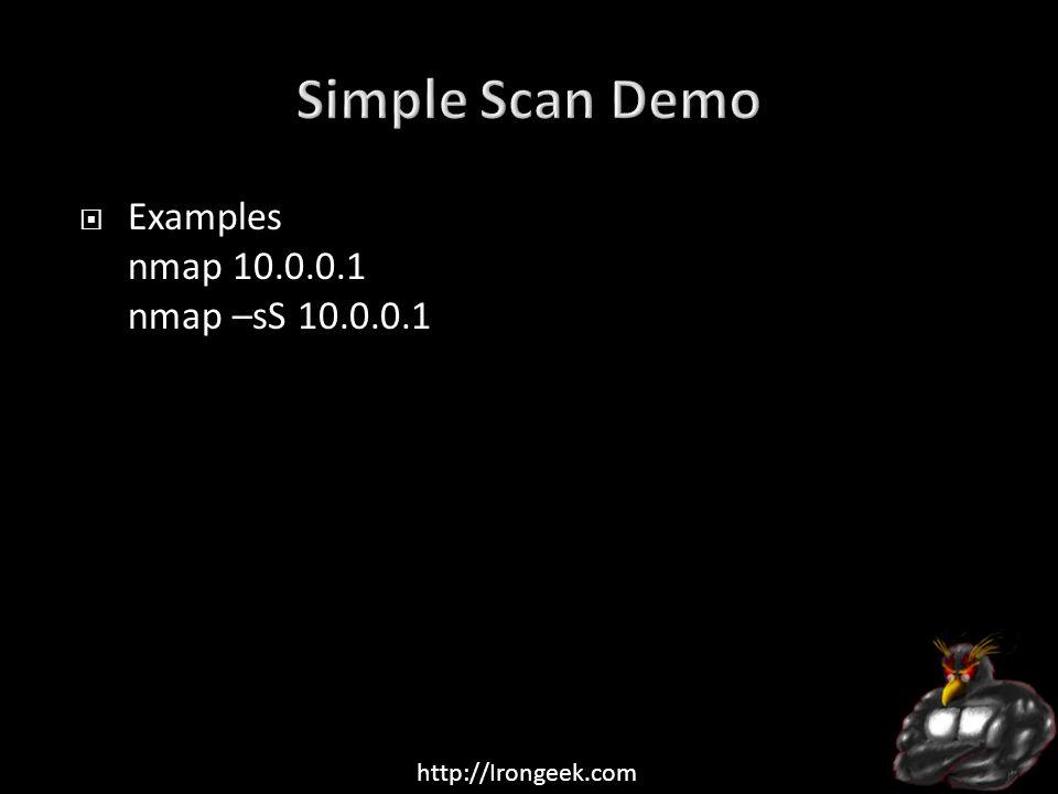 http://Irongeek.com  Examples nmap 10.0.0.1 nmap –sS 10.0.0.1