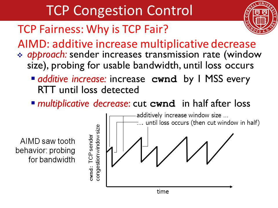 approach: sender increases transmission rate (window size), probing for usable bandwidth, until loss occurs  additive increase: increase cwnd by 1 MSS every RTT until loss detected  multiplicative decrease: cut cwnd in half after loss cwnd: TCP sender congestion window size AIMD saw tooth behavior: probing for bandwidth additively increase window size … ….