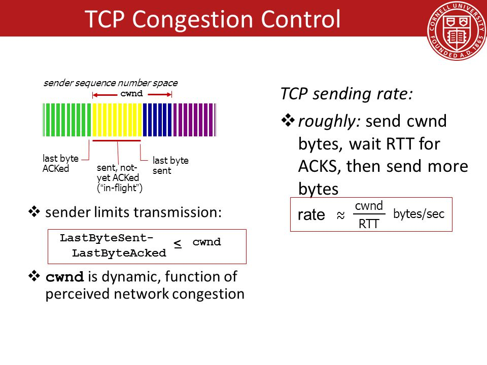  sender limits transmission:  cwnd is dynamic, function of perceived network congestion TCP sending rate:  roughly: send cwnd bytes, wait RTT for ACKS, then send more bytes last byte ACKed sent, not- yet ACKed ( in-flight ) last byte sent cwnd LastByteSent- LastByteAcked < cwnd sender sequence number space rate ~ ~ cwnd RTT bytes/sec TCP Congestion Control