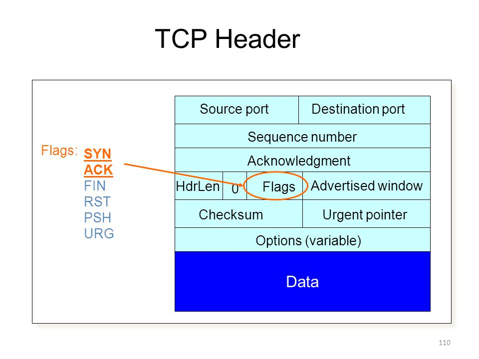TCP Header Source portDestination port Sequence number Acknowledgment Advertised window HdrLen Flags 0 ChecksumUrgent pointer Options (variable) Data Flags: SYN ACK FIN RST PSH URG 110