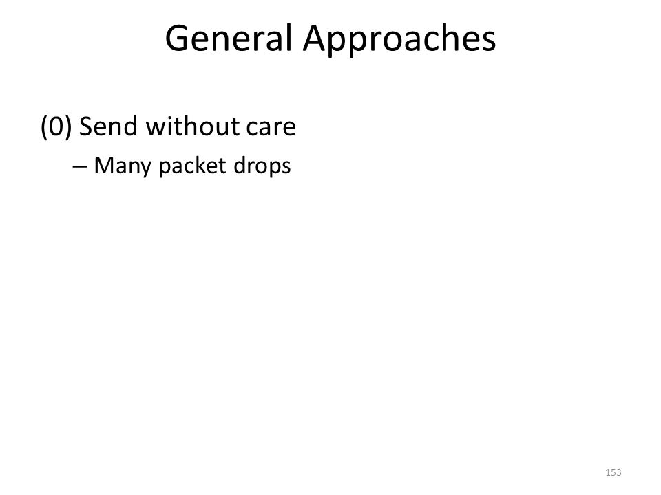 General Approaches (0) Send without care – Many packet drops 153