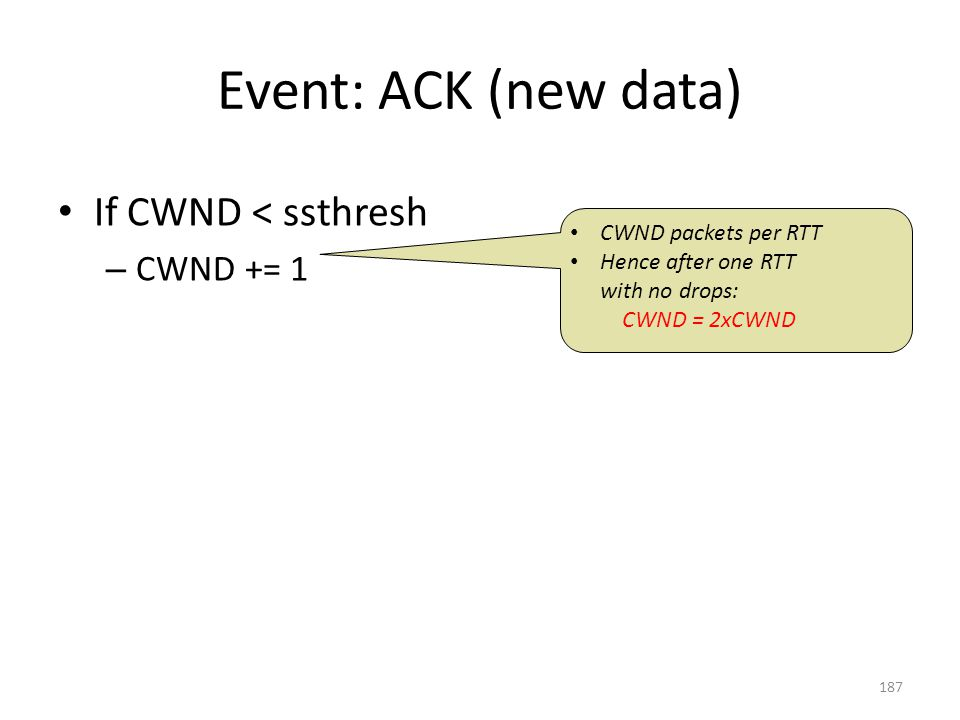 Event: ACK (new data) If CWND < ssthresh – CWND += 1 CWND packets per RTT Hence after one RTT with no drops: CWND = 2xCWND 187