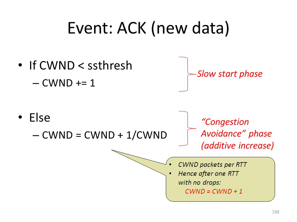 Event: ACK (new data) If CWND < ssthresh – CWND += 1 Else – CWND = CWND + 1/CWND Slow start phase CWND packets per RTT Hence after one RTT with no drops: CWND = CWND + 1 Congestion Avoidance phase (additive increase) 188