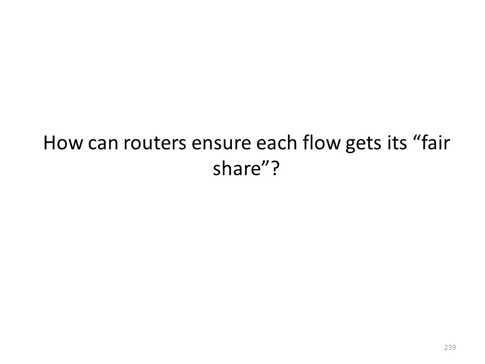 How can routers ensure each flow gets its fair share 239