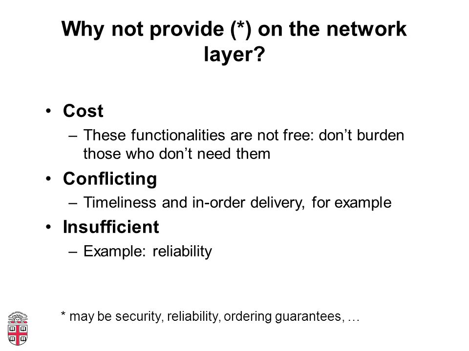 Why not provide (*) on the network layer.