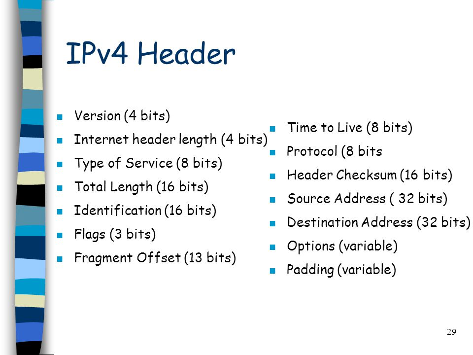 29 IPv4 Header n Version (4 bits) n Internet header length (4 bits) n Type of Service (8 bits) n Total Length (16 bits) n Identification (16 bits) n Flags (3 bits) n Fragment Offset (13 bits) n Time to Live (8 bits) n Protocol (8 bits n Header Checksum (16 bits) n Source Address ( 32 bits) n Destination Address (32 bits) n Options (variable) n Padding (variable)