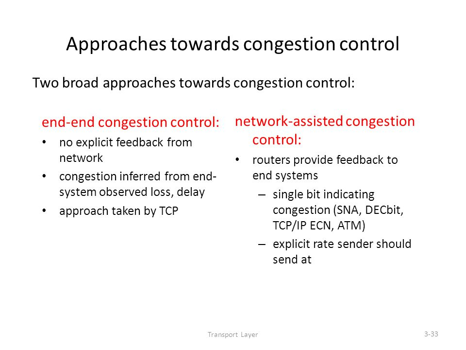 Transport Layer 3-33 Approaches towards congestion control end-end congestion control: no explicit feedback from network congestion inferred from end- system observed loss, delay approach taken by TCP network-assisted congestion control: routers provide feedback to end systems – single bit indicating congestion (SNA, DECbit, TCP/IP ECN, ATM) – explicit rate sender should send at Two broad approaches towards congestion control: