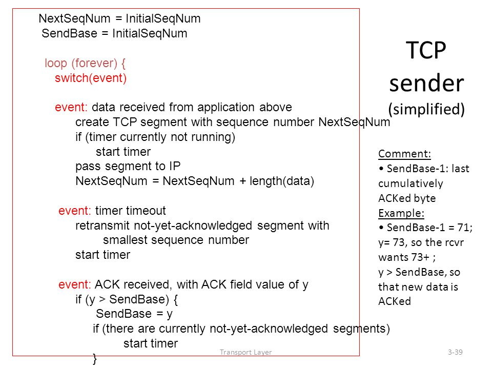 Transport Layer3-39 TCP sender (simplified) NextSeqNum = InitialSeqNum SendBase = InitialSeqNum loop (forever) { switch(event) event: data received from application above create TCP segment with sequence number NextSeqNum if (timer currently not running) start timer pass segment to IP NextSeqNum = NextSeqNum + length(data) event: timer timeout retransmit not-yet-acknowledged segment with smallest sequence number start timer event: ACK received, with ACK field value of y if (y > SendBase) { SendBase = y if (there are currently not-yet-acknowledged segments) start timer } } /* end of loop forever */ Comment: SendBase-1: last cumulatively ACKed byte Example: SendBase-1 = 71; y= 73, so the rcvr wants 73+ ; y > SendBase, so that new data is ACKed