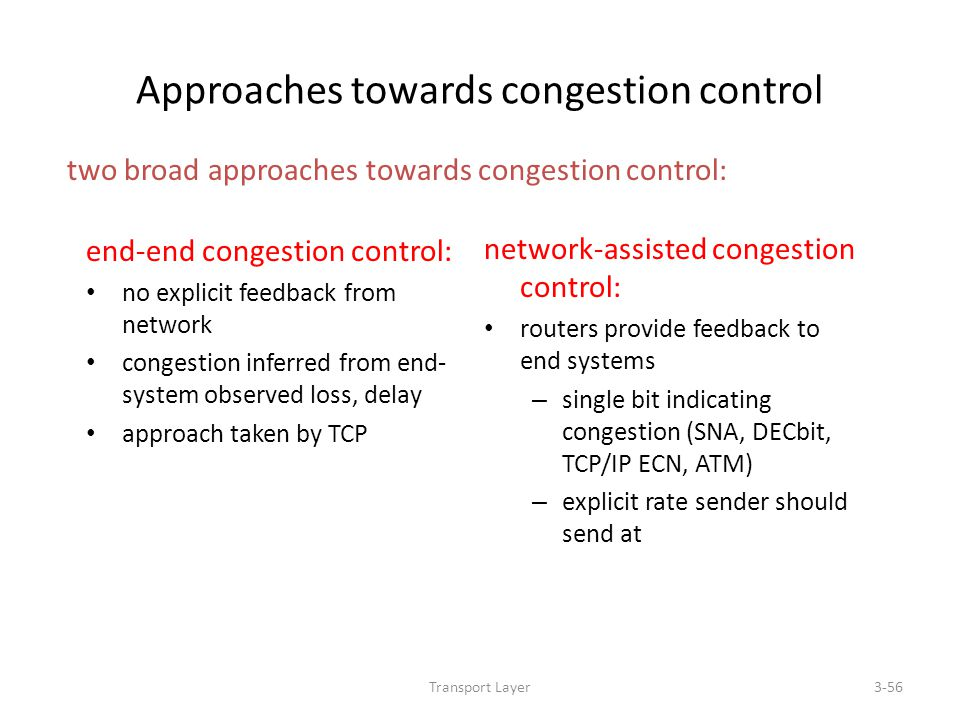 Transport Layer3-56 Approaches towards congestion control end-end congestion control: no explicit feedback from network congestion inferred from end-
