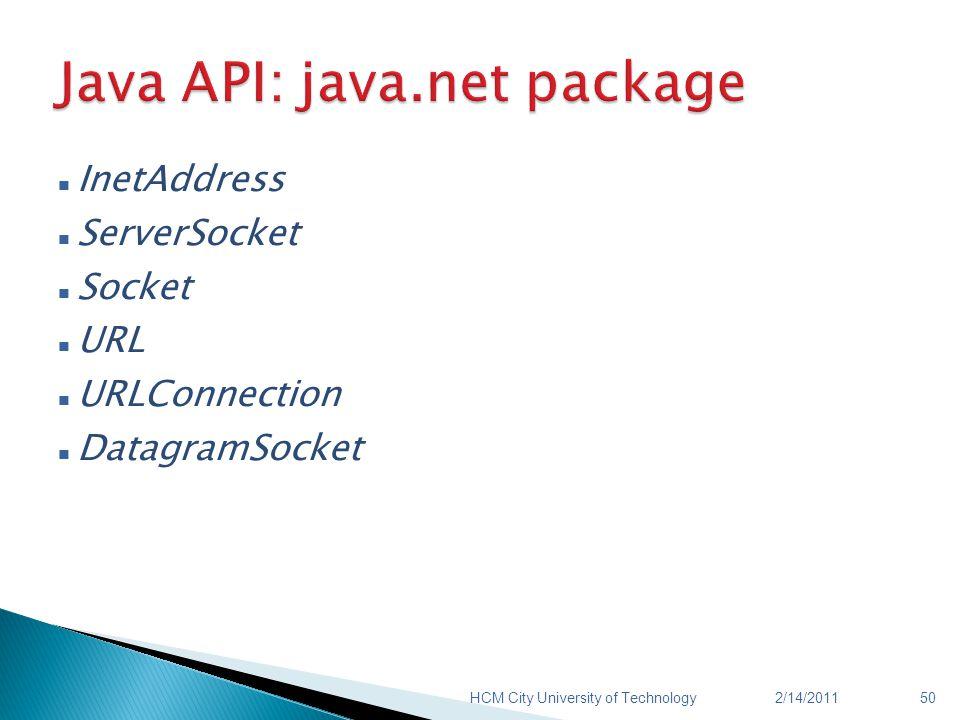 InetAddress ServerSocket Socket URL URLConnection DatagramSocket 2/14/2011HCM City University of Technology50