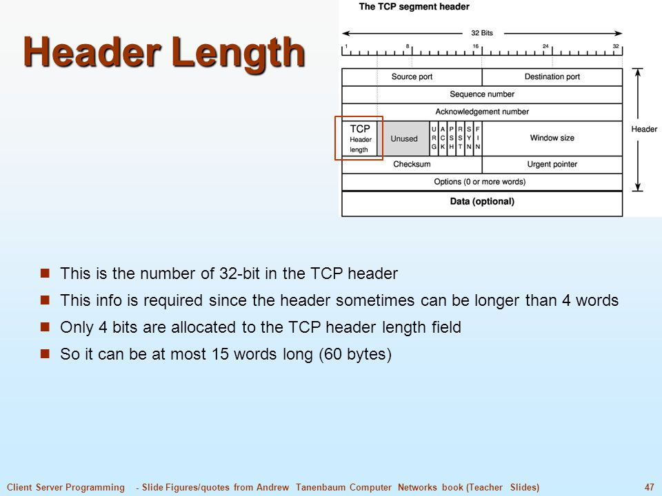 47Client Server Programming - Slide Figures/quotes from Andrew Tanenbaum Computer Networks book (Teacher Slides) Header Length This is the number of 32-bit in the TCP header This info is required since the header sometimes can be longer than 4 words Only 4 bits are allocated to the TCP header length field So it can be at most 15 words long (60 bytes)