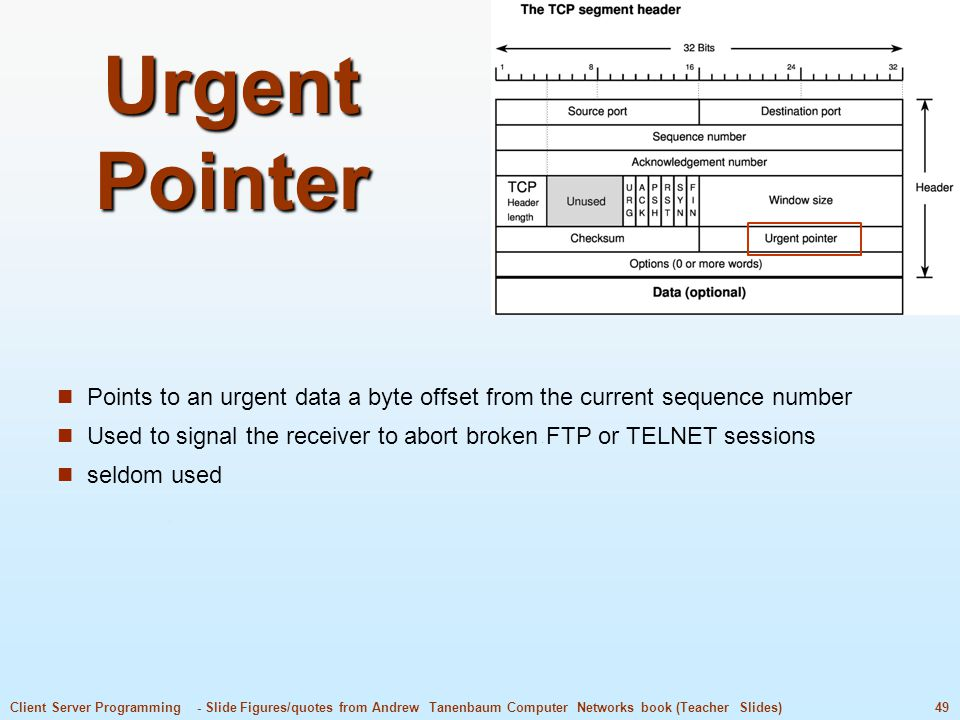 49Client Server Programming - Slide Figures/quotes from Andrew Tanenbaum Computer Networks book (Teacher Slides) Urgent Pointer Points to an urgent data a byte offset from the current sequence number Used to signal the receiver to abort broken FTP or TELNET sessions seldom used
